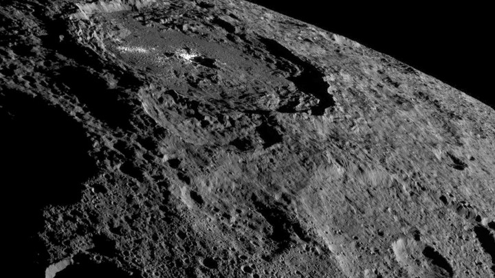 The surface of Ceres, the largest object in the asteroid belt