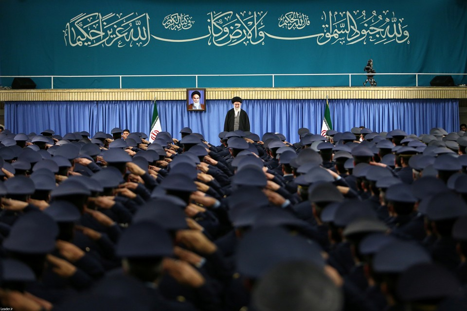 Iran's Supreme Leader Ayatollah Ali Khamenei arrives to deliver a speech in a meeting with military commanders in Tehran, Iran on February 7, 2017.