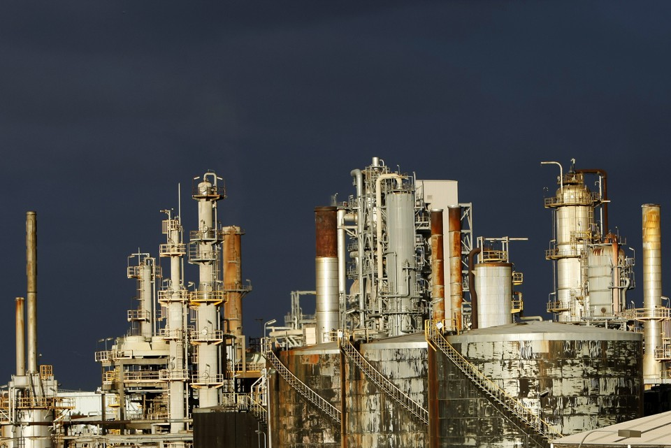 A view of the Mobil oil refinery at Altona in Melbourne