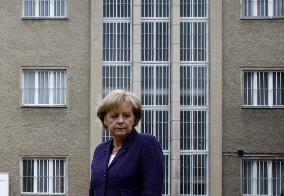 German Chancellor Angela Merkel after laying a wreath at the former prison of the East German Ministry for State Security (MfS), known as the Stasi
