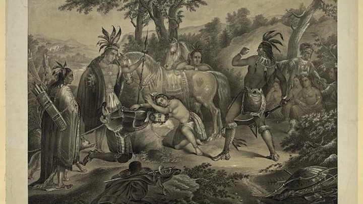 A print showing Captain John Smith, head on stone, with Pocahontas leaning over him, preventing Opechancanough from striking him with a metal weapon.