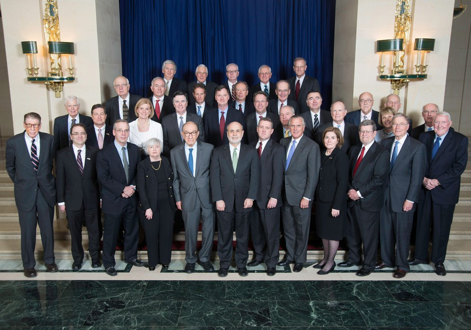 A group photo of current and former Federal Reserve Bank presidents in 2014