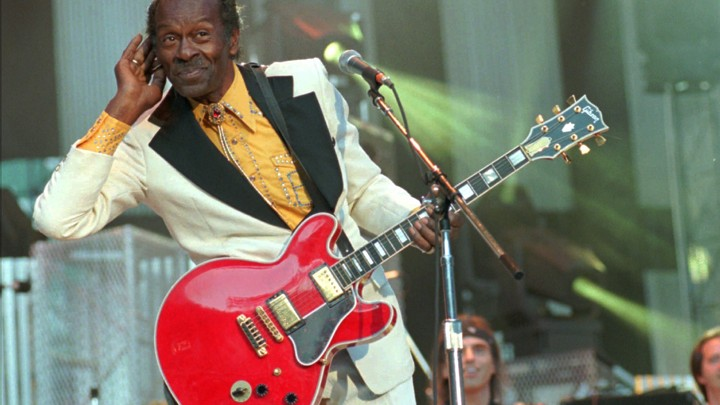 Chuck Berry performs at the Concert for the Hall of Fame in Cleveland in 1995.