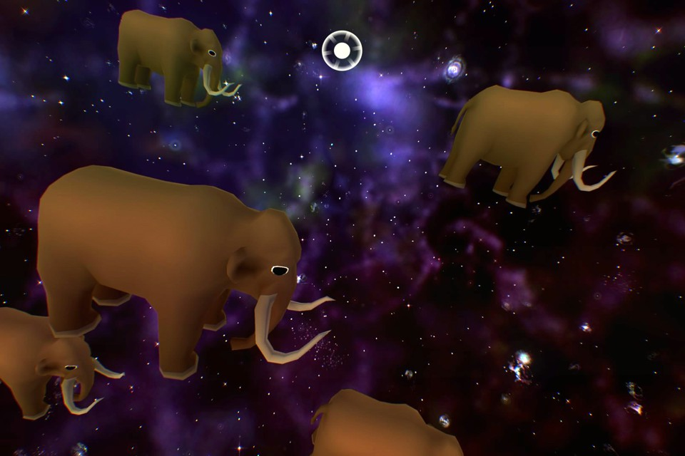 A herd of wooly mammoths float among galaxies in Everything, a new video game. Everything Game / Ian Bogost