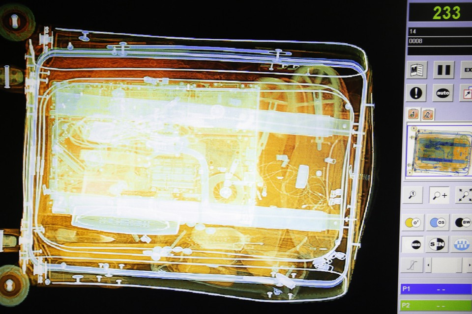 Luggage is seen on the screen of an x-ray security scanner at Sarajevo International Airport.