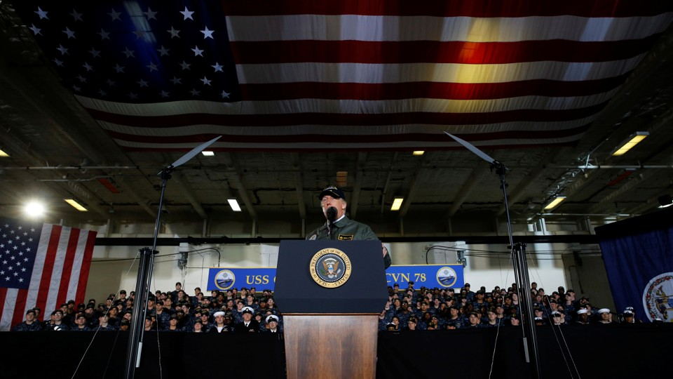 Trump delivers remarks aboard the pre-commissioned U.S. Navy aircraft carrier Gerald R. Ford.