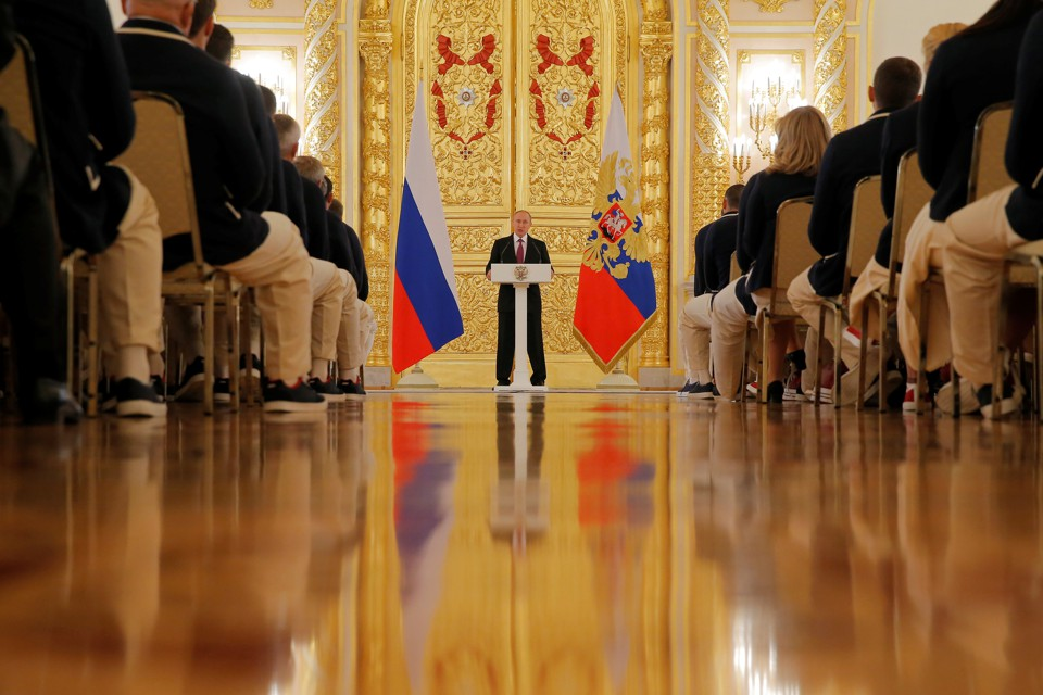 Russian President Vladimir Putin speaks at the Kremlin in Moscow, Russia, on July 27, 2016.