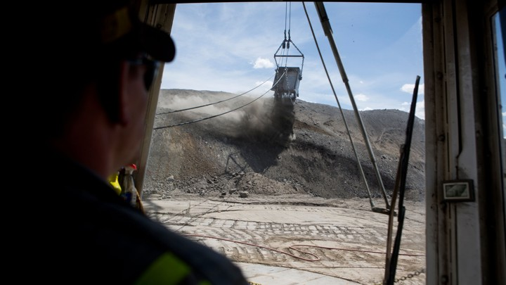An excavator at Peabody Energy's North Antelope Rochelle coal mine near Gillette, Wyoming