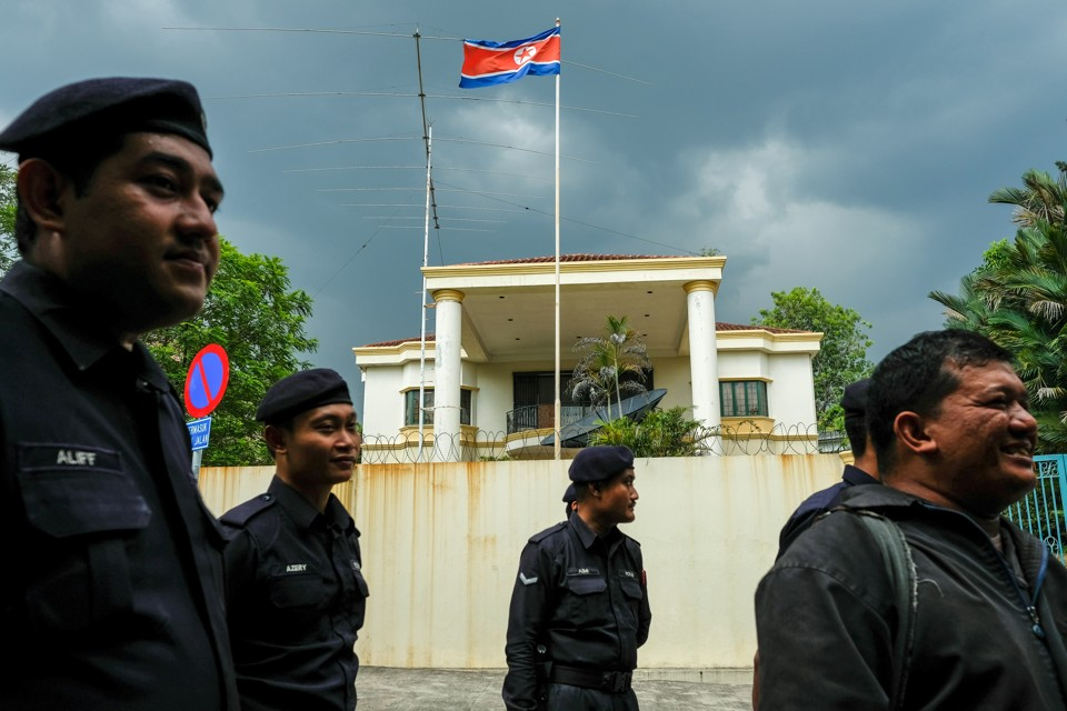 Malaysian Police officers in front of the North Korea embassy, following the murder of Kim Jong Nam, in Kuala Lumpur, Malaysia.