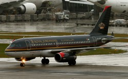 A Royal Jordanian aircraft is seen the Zurich Airport.