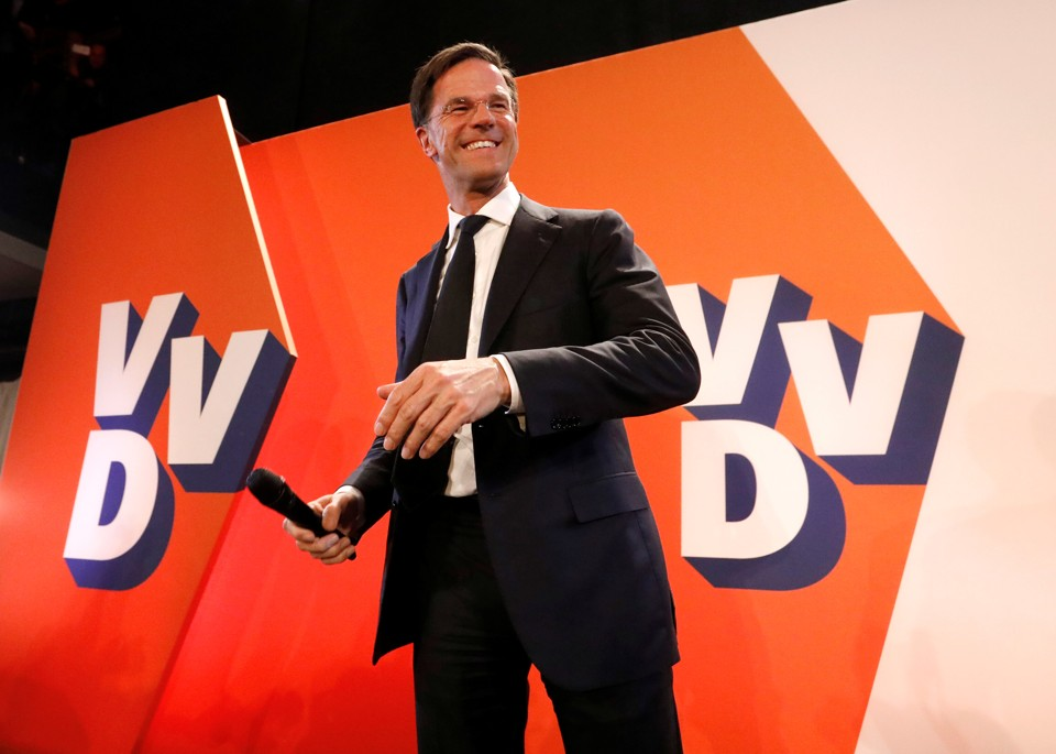 Dutch Prime Minister Mark Rutte appears before supporters in The Hague, Netherlands on March 15, 2017.
