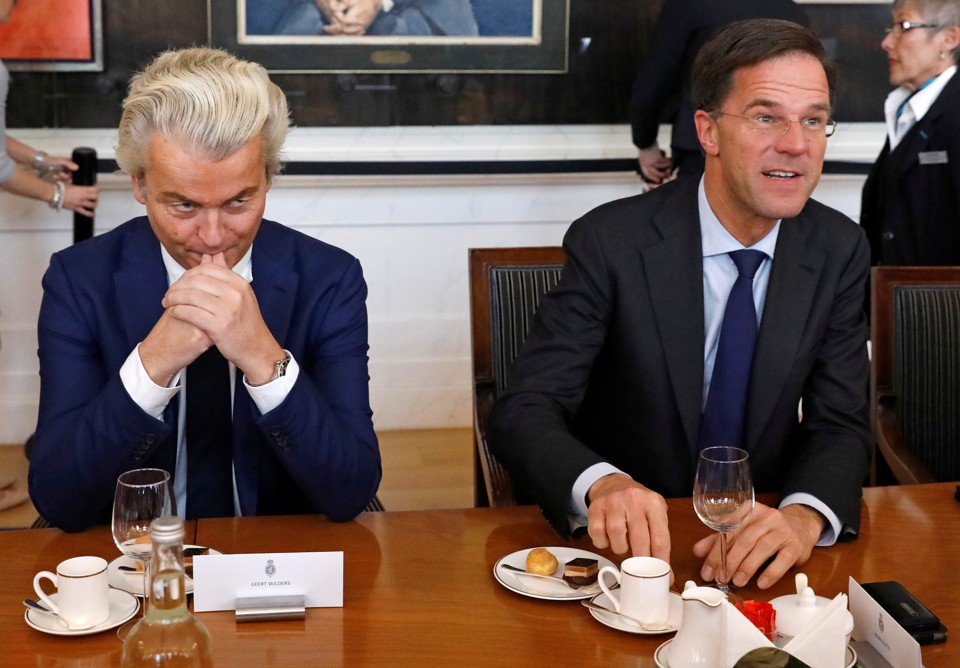 Dutch Prime Minister Mark Rutte with far-right politician Geert Wilders