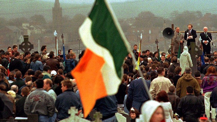 Martin McGuinness addresses a republican crowd in Milltown Cemetery, April 16, 1995.