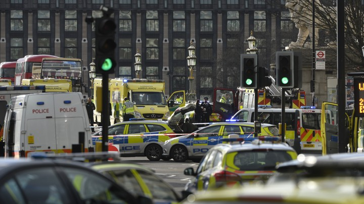 Emergency services respond after an incident on Westminster Bridge in London, Britain, on March 22, 2017.