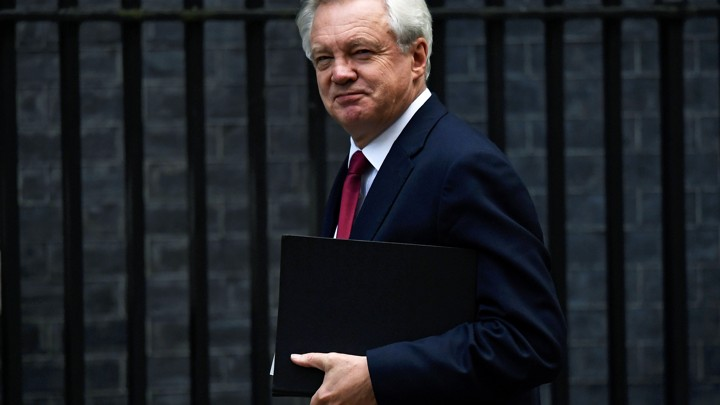 David Davis, Secretary of State for Exiting the European Union, arrives at Downing Street.
