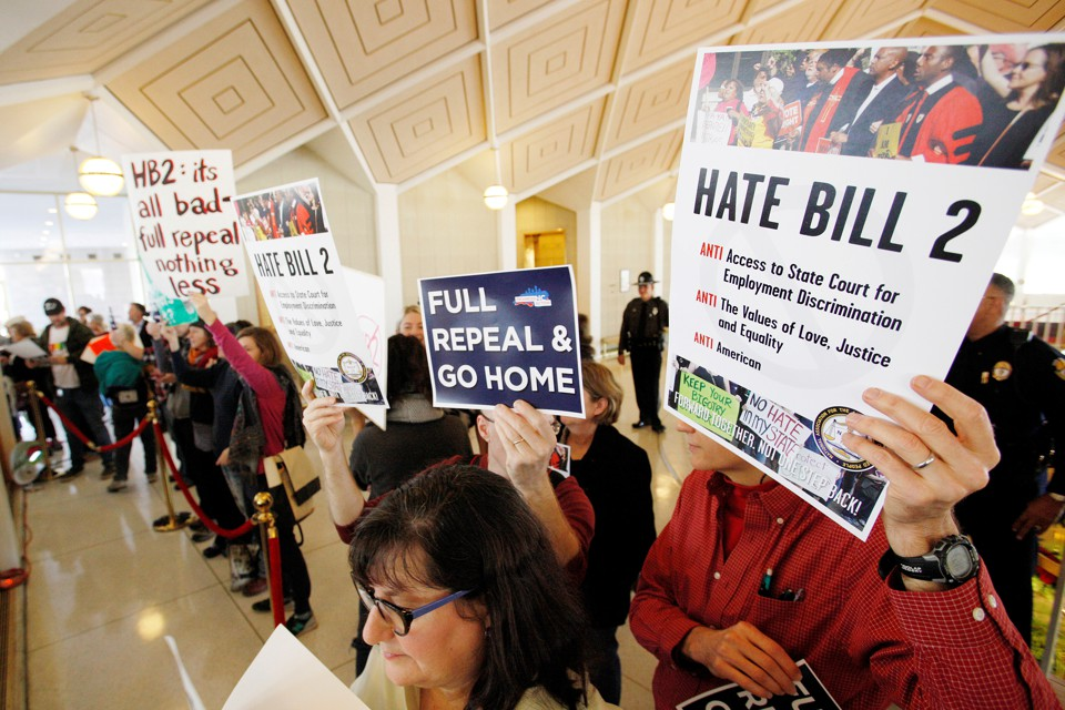 Demonstrator protest against H.B. 2 at the North Carolina General Assembly in December.