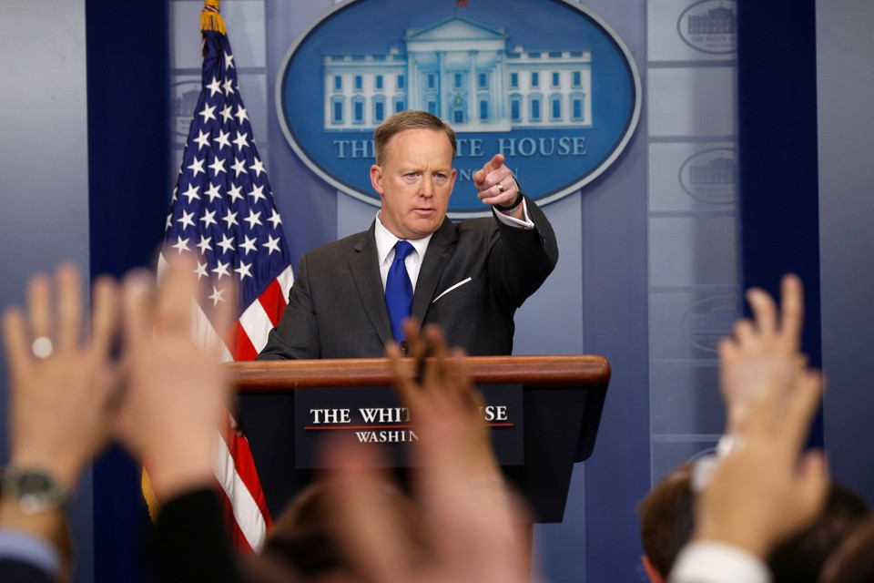 Sean Spicer holds a briefing at the White House in Washington.