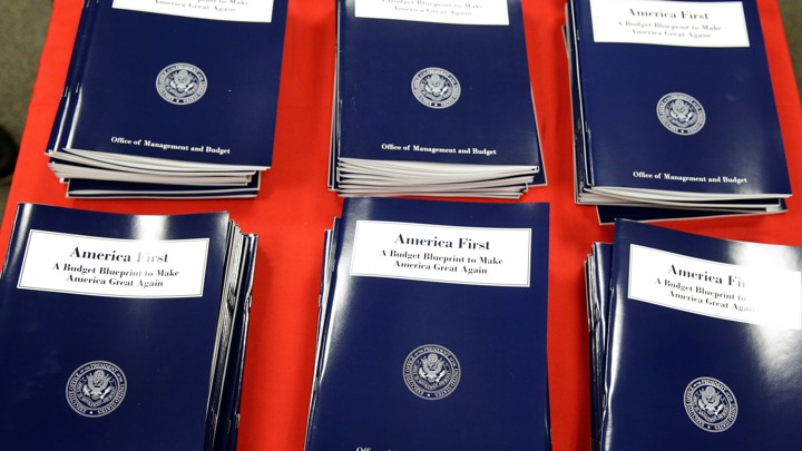 President Donald Trump's overview of the budget priorities for Fiscal Year 2018 are displayed at the U.S. Government Publishing Office.