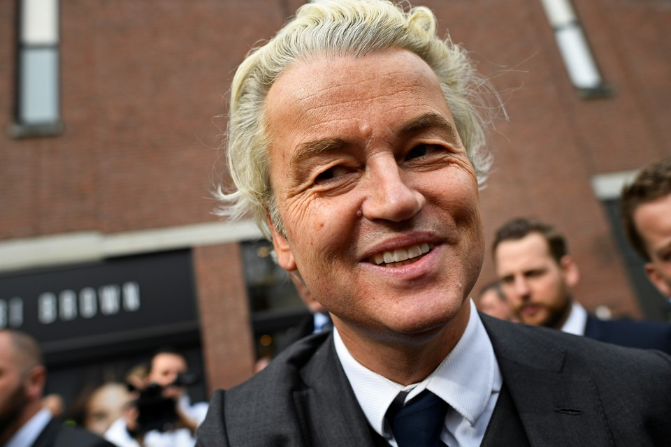 Dutch far-right politician Geert Wilders of the PVV party smiles during a recent rally in the Netherlands.