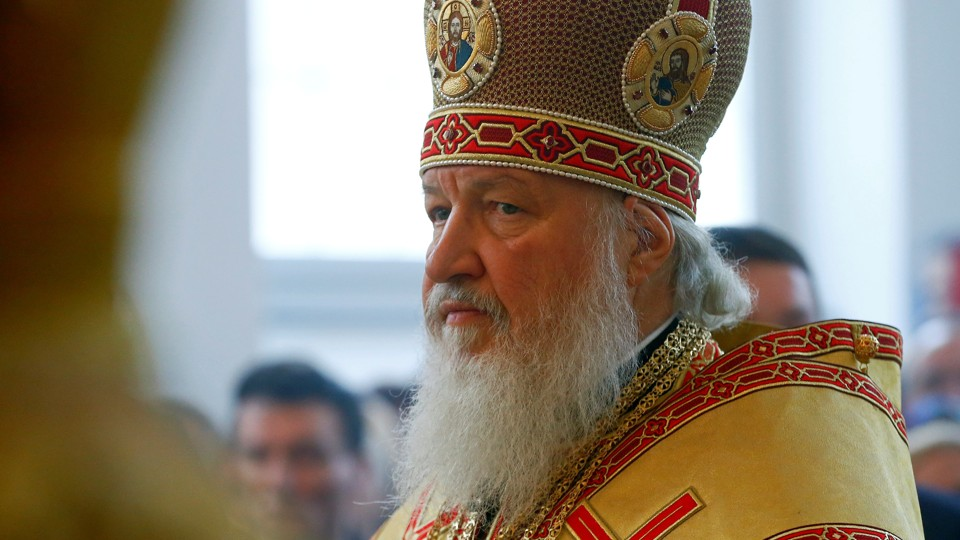 Patriarch of Moscow and All Russia Kirill conducts a service at a Russian Orthodox church.