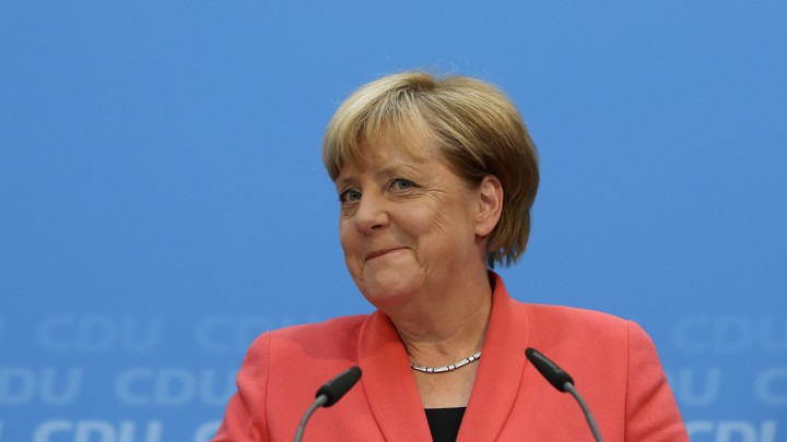German Chancellor Angela Merkel addresses a news conference in Berlin, Germany.