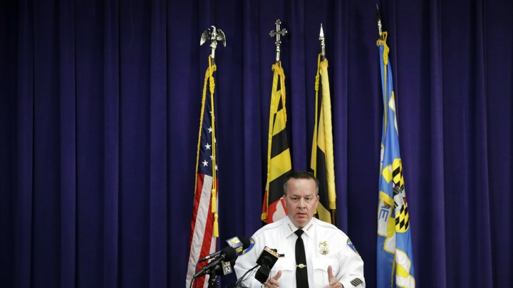 Baltimore Police Commissioner Kevin Davis speaks on Tuesday