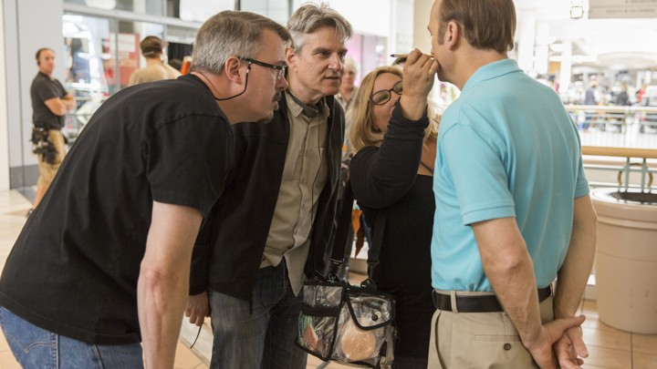 'Better Call Saul' creators Vince Gilligan and Peter Gould on set with actor Bob Odenkirk