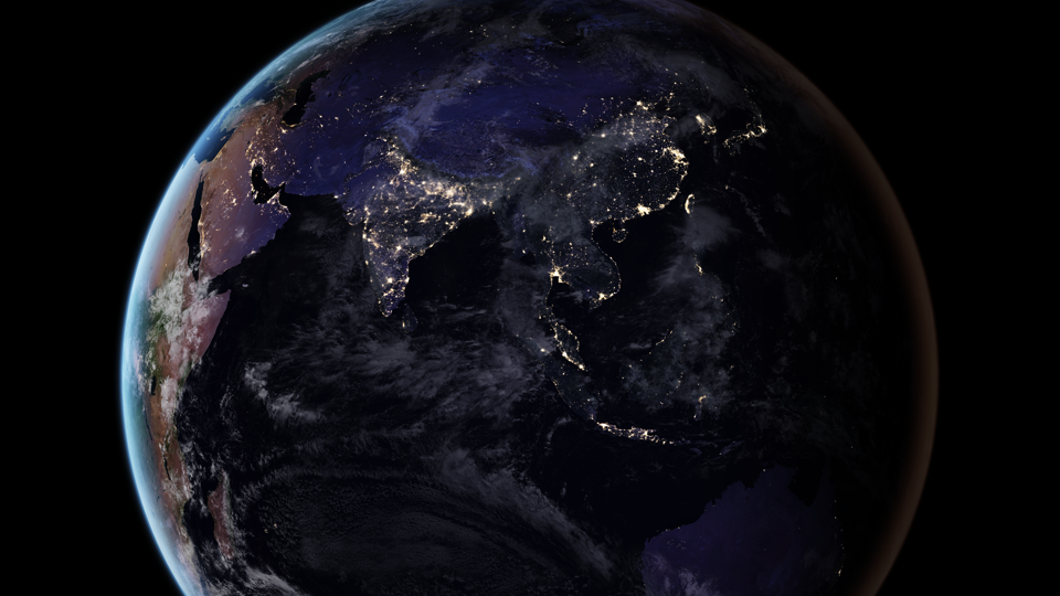 Nasas nighttime maps trace humanitys impact on earth the atlantic a satellite image of earth at night joshua stevens nasa miguel romn goddard flight center gumiabroncs Images