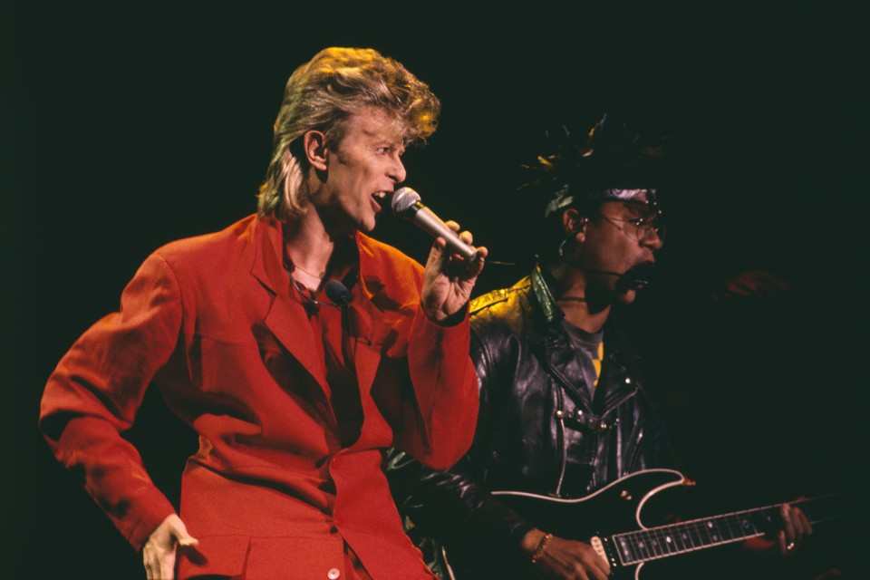 David Bowie performs during the Glass Spider Tour in 1987.