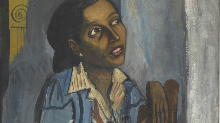 A detail from Alice Neel's portrait