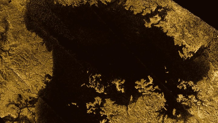 Ligeia Mare, shown here in a false color image from NASA's Cassini mission, is the second-largest known body of liquid on Titan, a moon of Saturn.