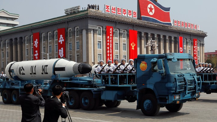 A North Korean navy truck carries a submarine-launched ballistic missile (SLBM) during a military parade marking the 105th birth anniversary of country's founding father, Kim Il Sung in Pyongyang, on April 15, 2017.