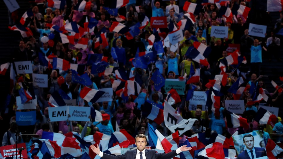 Emmanuel Macron attends a campaign political rally at the AccorHotels Arena in Paris, France, on April 17, 2017.