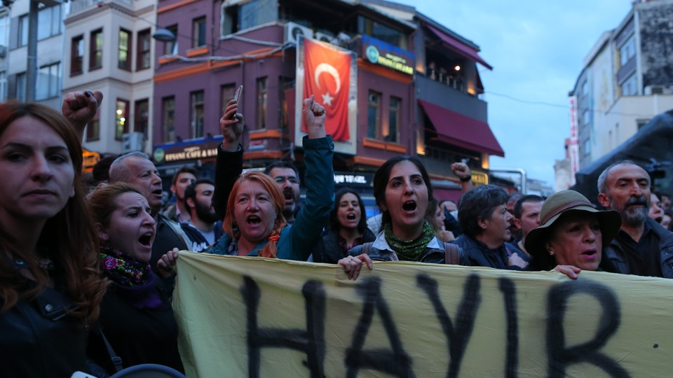 Anti-government demonstrators shout slogans during a protest in the Besiktas district of Istanbul, Turkey, on April 19, 2017.