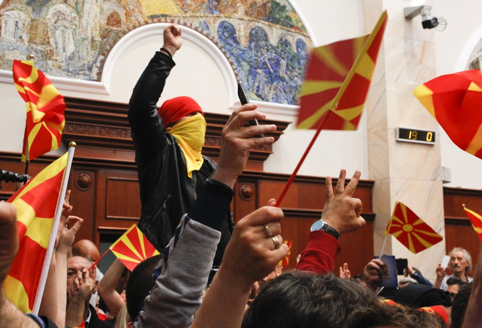 Protesters at Macedonia's parliament