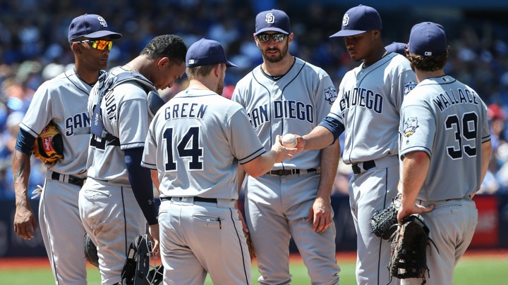 A group of San Diego Padres players stand at the pitchers' mound.