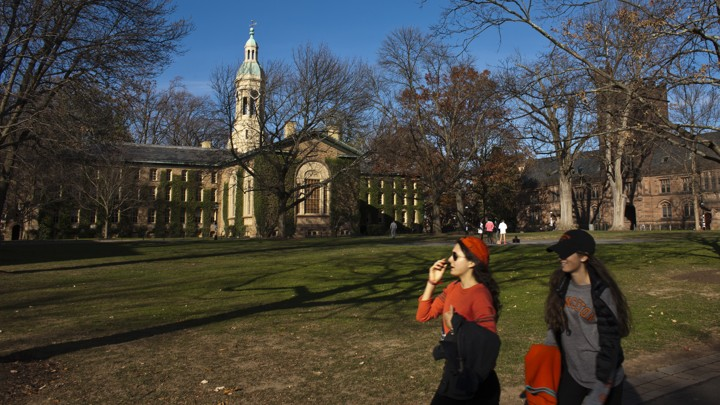 Two young women on Princeton's campus