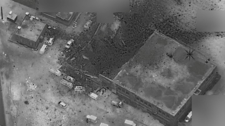 The photograph shows a site struck by the U.S. on March 16 that the Pentagon said was the scene of an al-Qaeda meeting in al-Jinah, Syria.