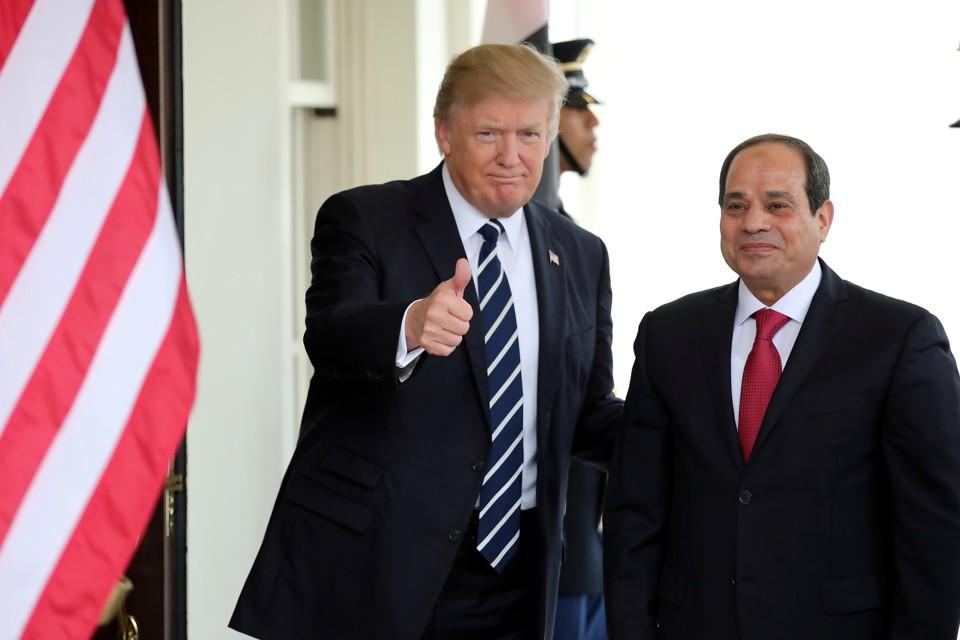 U.S. President Donald Trump welcomes Egyptian President Abdel Fattah al-Sisi to the White House on April 3, 2017.