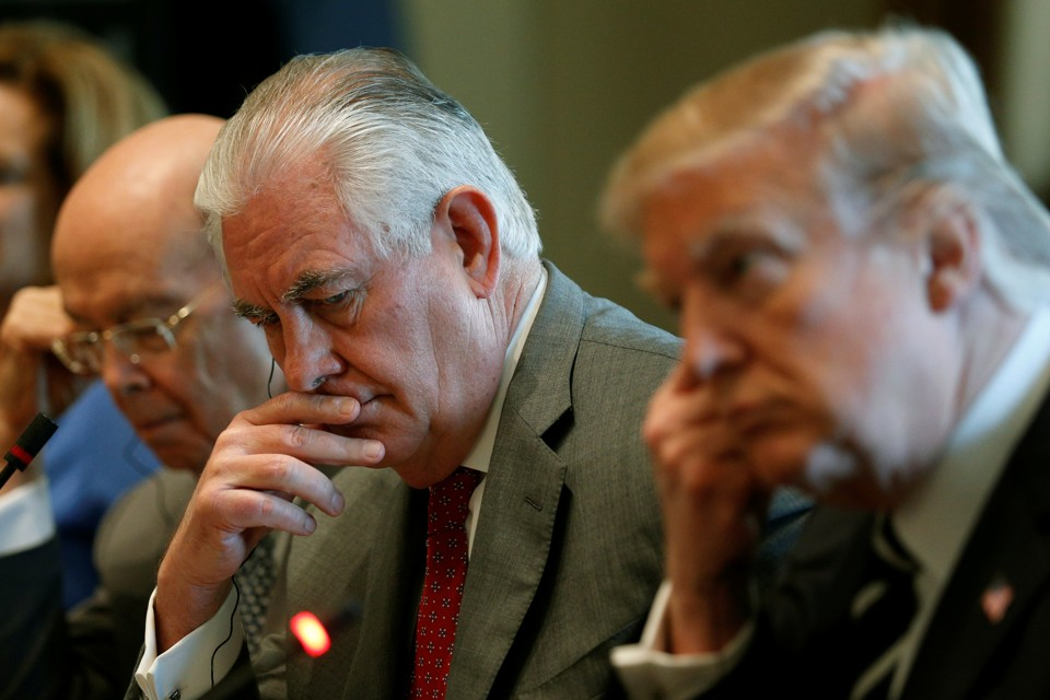 President Donald Trump and Secretary of State Rex Tillerson listen during a meeting with Egyptian President Abdel Fattah al-Sisi in the Cabinet Room of the White House on April 3, 2017.
