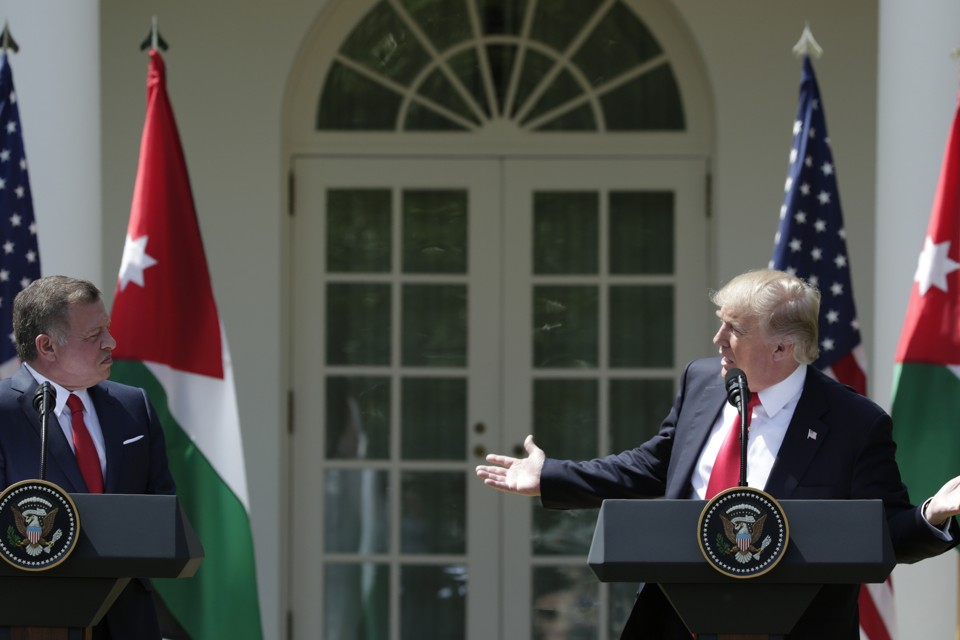 President Trump and King Abdullah of Jordan during a White House press conference Thursday
