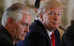 President Donald Trump sits next to Secretary of State Rex Tillerson the day after he ordered a strike on Syria.