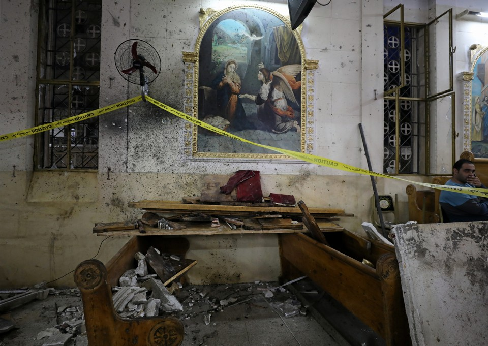 The aftermath of an explosion that took place at a Coptic church on Sunday in Tanta, Egypt