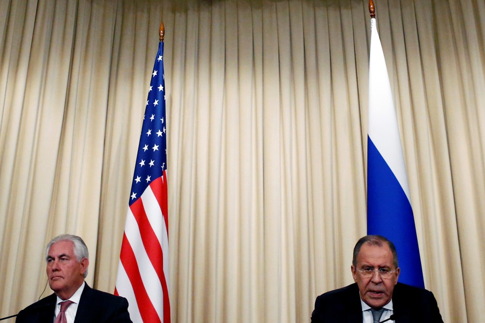Russian Foreign Minister Sergei Lavrov and U.S. Secretary of State Rex Tillerson attend a news conference on April 12, 2017.