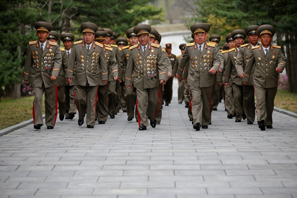 Military officers visit Friday the birthplace of Kim Il Sung, a day before his 105th birth anniversary in Mangyongdae, just outside Pyongyang.