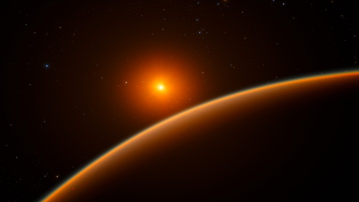 An artist's impression of the exoplanet LHS 1140b, which orbits a red dwarf star 39 light-years from Earth