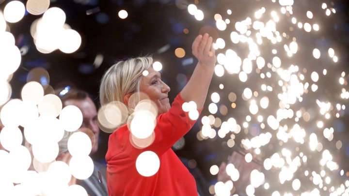 Marine Le Pen, one of two remaining candidates in the French presidential election, attends a recent political rally in Chateauroux, France.