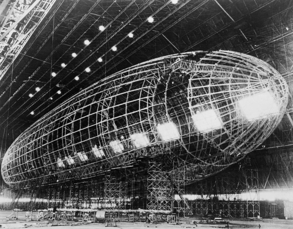 The metal skeleton of the Akron, under construction for the Navy at the Goodyear hangar in the 1930s. Library of Congress