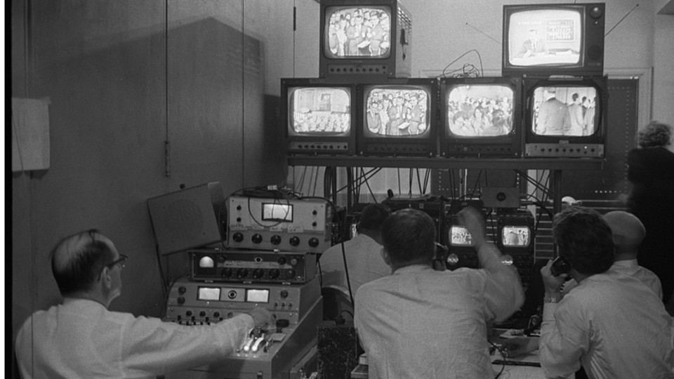 A Bank Of Television Sets At The Democratic Headquarters At The Mayflower  Hotel In Washington, D.C., On Election Night, 1964.