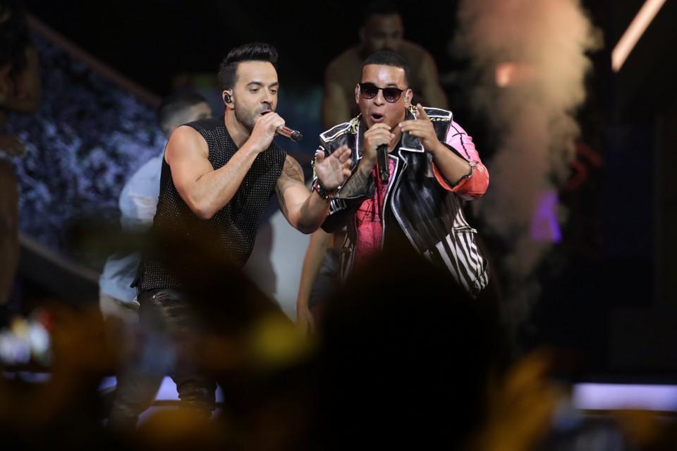 Luis Fonsi and Daddy Yankee perform at the 2017 Latin Billboard Awards.